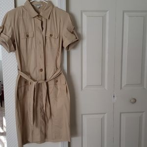 Tan button up dress with tie